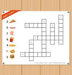 Crossword education game for children about fast vector