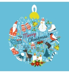 Christmas Hand Drawn Round Design vector image