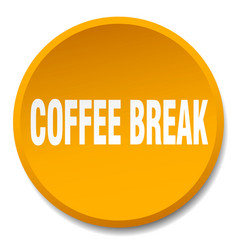 coffee break orange round flat isolated push vector image vector image