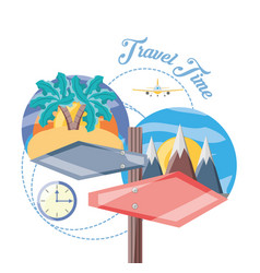 Destination of travel in he beach and snowy vector