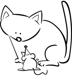 doodle cat mouse for coloring vector image vector image