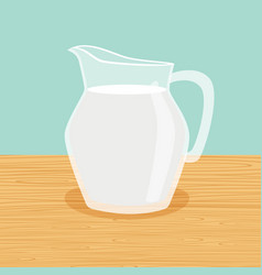 Farm milk carafe on the table vector