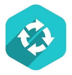 flat arrow sign rotation icon hexagon button vector image vector image
