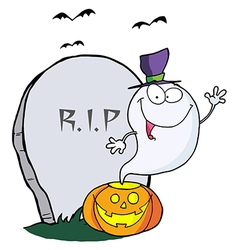 Ghost waving from pumpkin near tombstone and bats vector