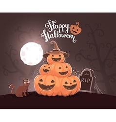 halloween of pile of decorative orange pumpk vector image vector image