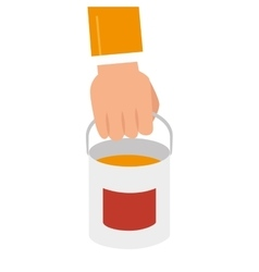 Hand holding a paint bucket vector