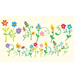 Happy birthday floral letters vector