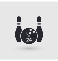 Icon bowling with clock face day and night vector