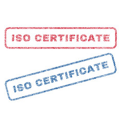 Iso certificate textile stamps vector