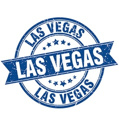 Las vegas blue round grunge vintage ribbon stamp vector