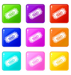 Movie ticket icons 9 set vector