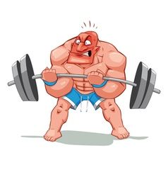 Muscle man funny cartoon and character vector