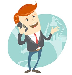 Office man phone talking in front of his working vector image vector image