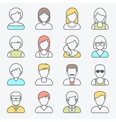 People userpics line icons vector