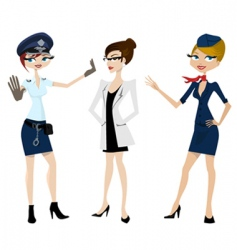 police doctor hostess vector image vector image