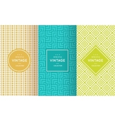 Retro different seamless patterns vector image