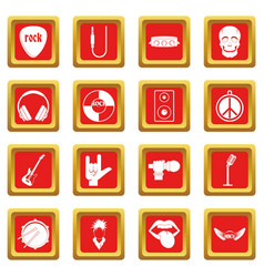 Rock music icons set red vector