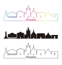 Rosario skyline linear style with rainbow vector
