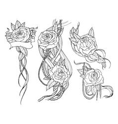 Rose tattoo set vector