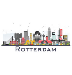 Rotterdam netherlands skyline with gray buildings vector