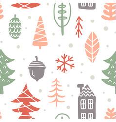 scandinavian winter christmas doodles pattern vector image vector image
