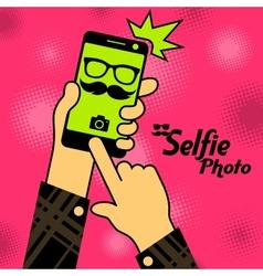 Selfie phonein red vector image vector image