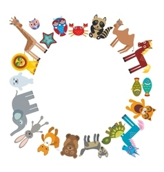 Set of funny cartoon animals character bear vector image