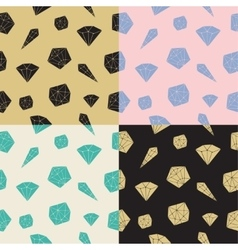 Set seamless pattern geometric crystals vector image