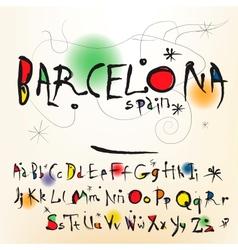 The alphabet in style spanish artist of joan miro vector