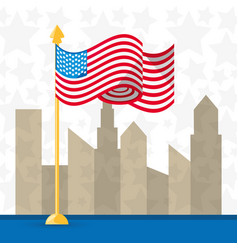 usa country with american flag nation vector image vector image