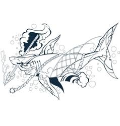 wounded shark marine mammal vector image