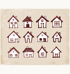 Sketch of houses on vintage background vector