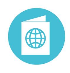 Round icon blue passport cartoon vector