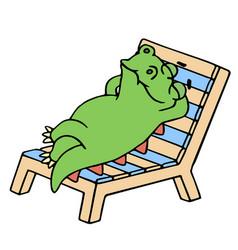 Funny dinosaur resting on a deck-chair vector