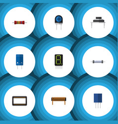 Flat icon device set of bobbin resistance vector