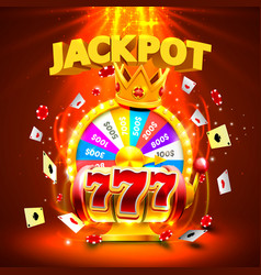 Jackpot casino 777 slots and fortune king banner vector