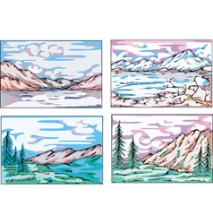 Sketches of mountain landscapes vector