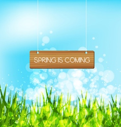 Spring is coming concept with wood sign vector