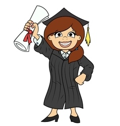 Student holding her diploma vector