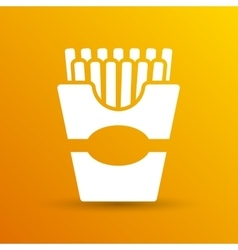 Fast-food french fries logo in a box style vector