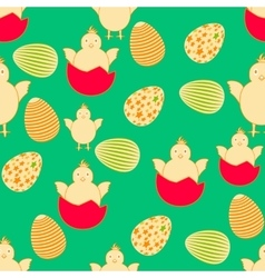 Seamless easter pattern with eggs and chickens vector
