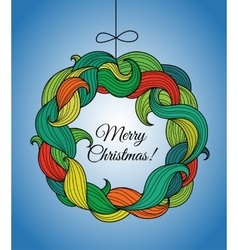Christmas card with wreath of colorful twirls vector