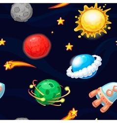 Seamless pattern with rocket and fantastic planets vector