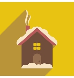 Flat icon with long shadow house under snow vector