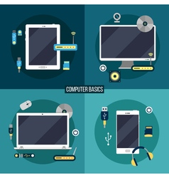 Computer and electronic basics laptop computer vector