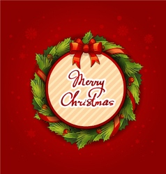 Merry christmas creative label with wreath on red vector