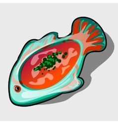Dish in the shape of fish with tomato soup vector