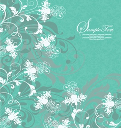 Aquamarine white floral swirls wedding invitation vector image
