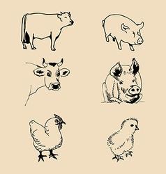 Artistic farm animal design vector
