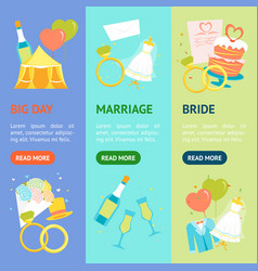 cartoon wedding banner vecrtical set vector image vector image